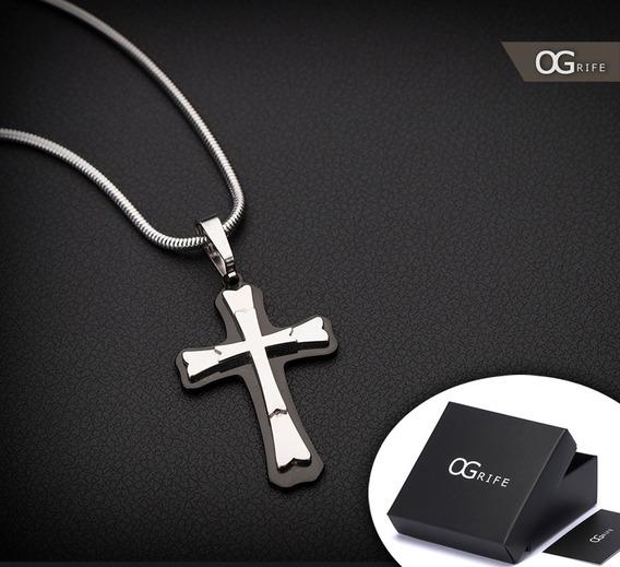 Corrente Cordão Ogrife Rabo De Rato J-109 Crucifixo Aço Inox