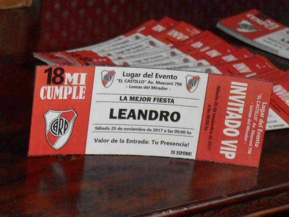 Tarjetas Invitacion Evento Ticketek Cuadros De Futbol (100u)