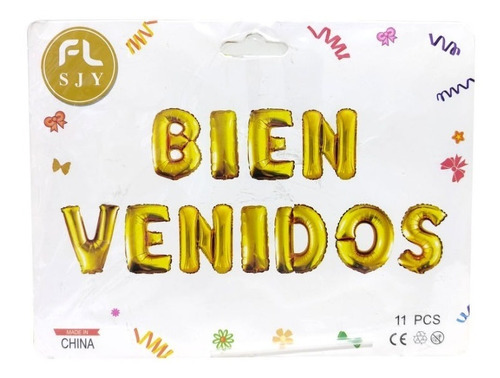 Imagen 1 de 1 de Letrero Bienvenidos Globo Ref Af-06 Dorado