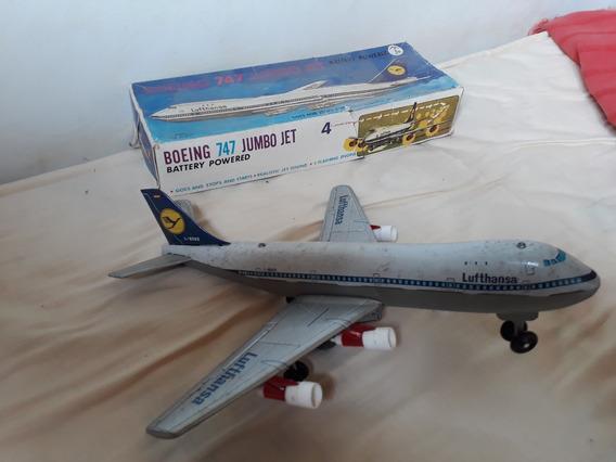 Brinquedo Avião Lufthansa Boing 747 L-8562, Dos Anos 60/70.