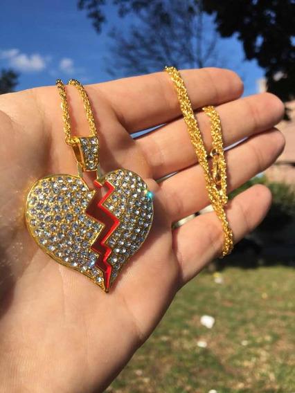 Corrente Iced Out Heart Broken Gold - P/ Entrega