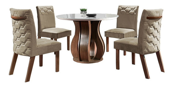 Mesa De Jantar Luxo Nuance - Quatro Cadeiras,tampo Off White