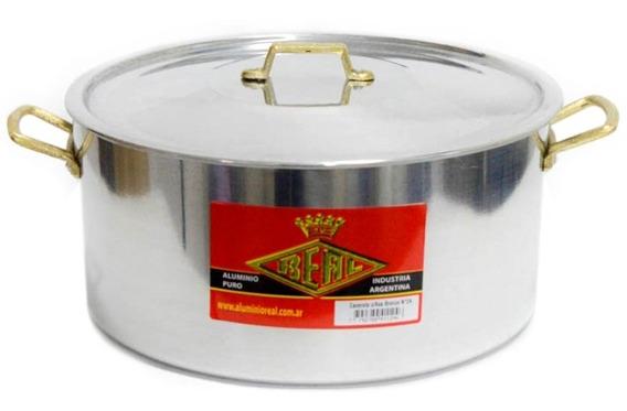 Cacerola De Aluminio Nº24 - 4,8 Lts Asas De Bronce