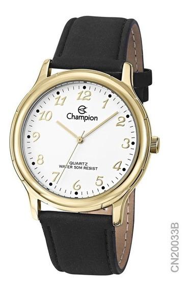Relógio Social Feminino Champion Dourado Cn20033b Em Couro