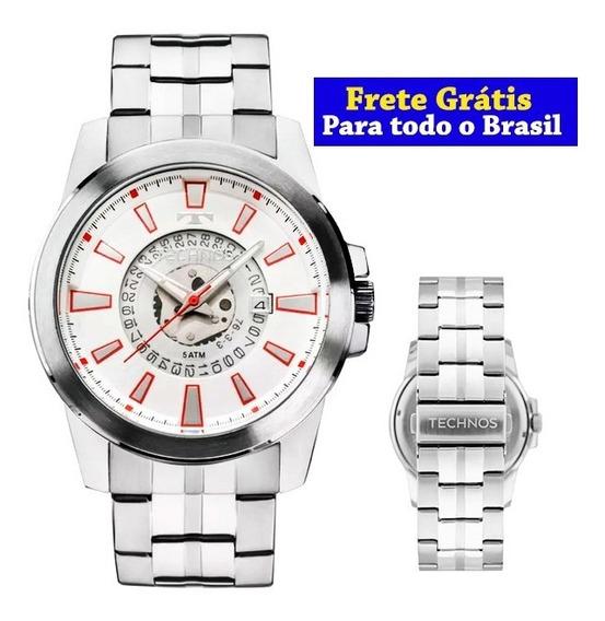Relógio Masculino Technos Original Esportivo Prateado 2117lah/1b - Frete Grátis Para Todo O Brasil
