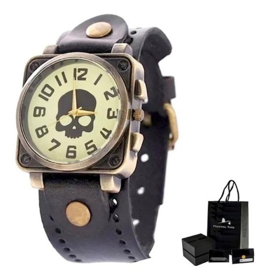 Relógio Masculino Caveira Original Couro Moda Casio Garantia