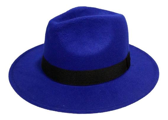Sombrero Fedora De Moda Ala Plana En Paño 100% Original