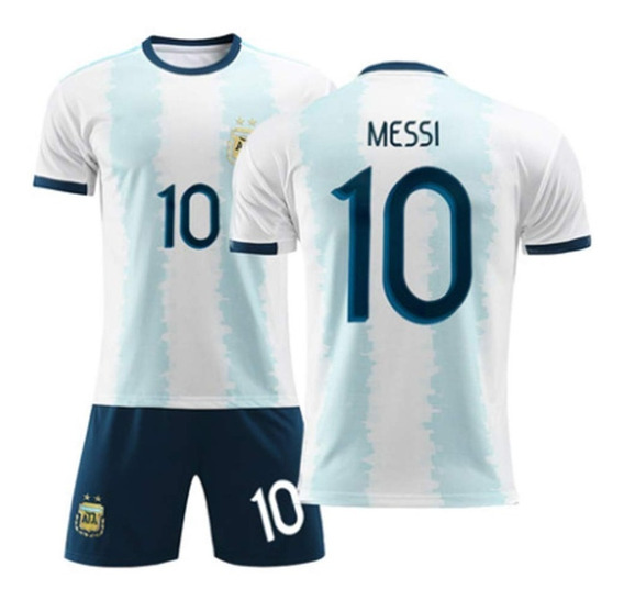 Kit Camiseta + Short Argentina Messi Nene Niños Copa America 2019 Futbol Original Oferta