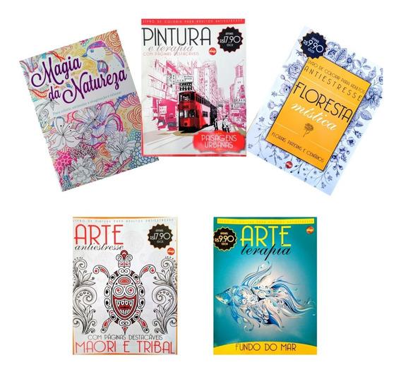 Kit 5 Revistas De Colorir Para Adulto,terapia Anti-estresse.
