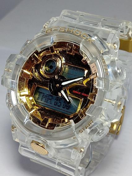 Lindo Relógio Tranparente/dourado Digital/analóg. + Caixa