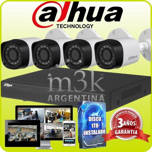 Kit Seguridad Dahua Full Hd Dvr 4 + Disco 1tb Instalado + 4 Camaras Infrarrojas Exterior O Domos + Ip Cctv M3k
