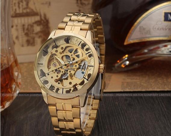 Relógio Masculino Social Luxo Winner Automático Skeleton