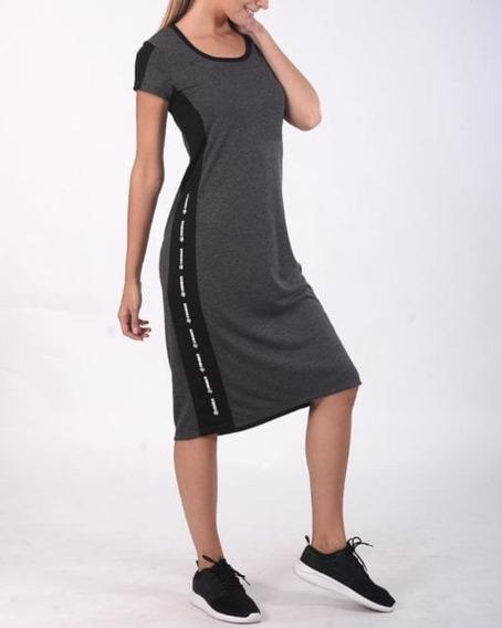 Vestido Largo Con Recortes Combinados Y Estampa De Jersey