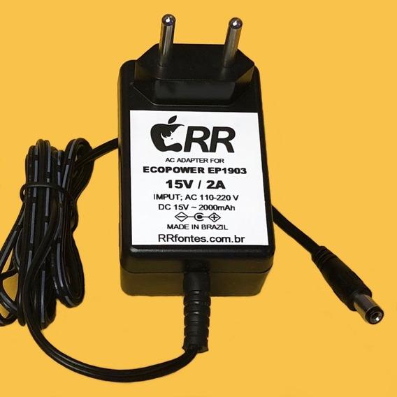 Fonte Carregador 15v Para Caixa Amplificada Ep-1903 Ecopower