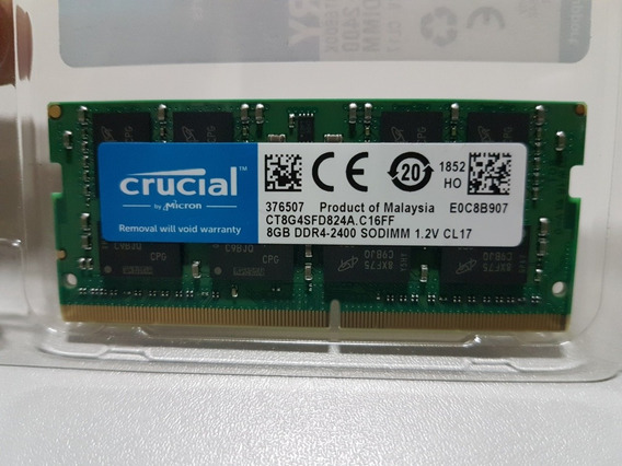 Memoria Notebook 8gb Ddr4 2666mhz Crucial Novo Original