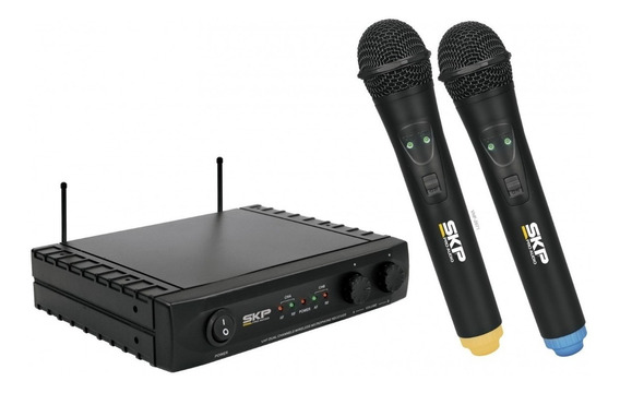 Microfone De Mão Vocal Duplo Sem Fio Profissional Skp Uhf261