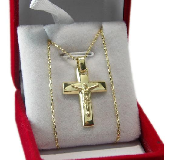 Conjunto Oro 18k Cadena Y Cristo Bombé 3,9 Gramos - Esponda