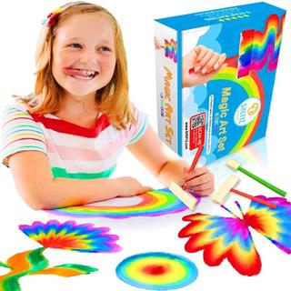 Arte Acuarela Arcoiris Mágio Niños Y Niñas 6 Pinceles