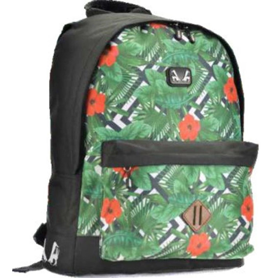 Mochila De Costas Escolar Verde Floral - Sexy Machine