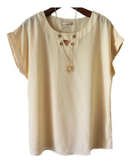Blusa Camisa Bata Em Crepe Lindissima Pronta Entrega 2517