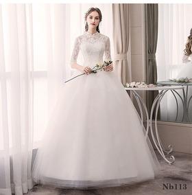 Nb46 Vestido Noiva Renda Gola Alta Evangelica Plus Size Véu
