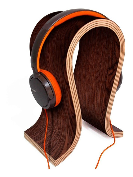 Suporte Headphone, Headset Gamer Em Madeira, Wenge