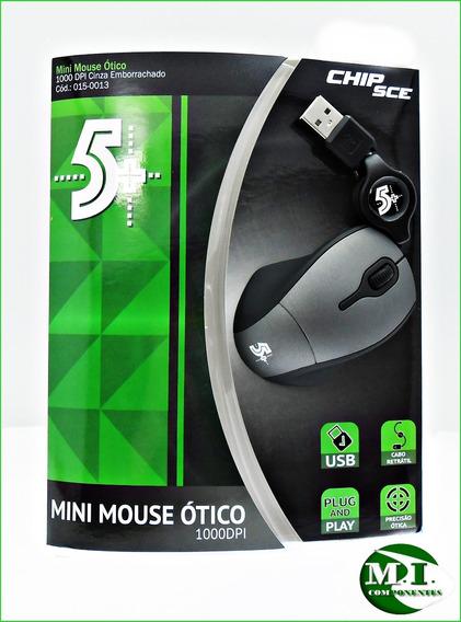 Mini Mouse Optico Usb C/fio Retratil +5 1000 Dpi Chip Sce
