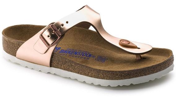 Sandalia Birkenstock Gizeh Piel Soft Footbed Mujer