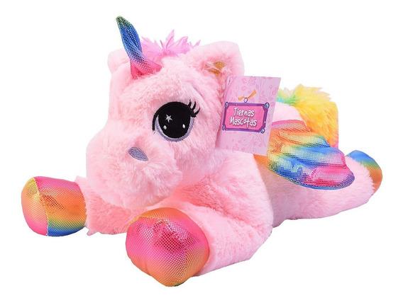Unicornio Peluche Con Alas Arco Iris 25 Cm Tiernas Mascotas