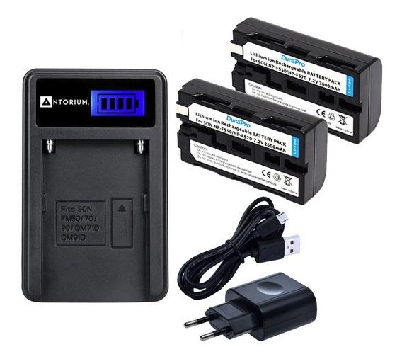 Carregador +2x Bateria Sony Np-f570 Np-f550 Np-f750 F550 +nf