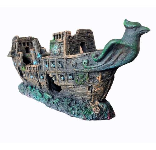 Barco Pirata Naufragio De 24 Cm Con 30 Cañones Para Acuario