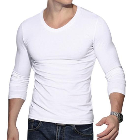 Camiseta Manga Longa Básica Lisa Camisa Blusa Promoçao