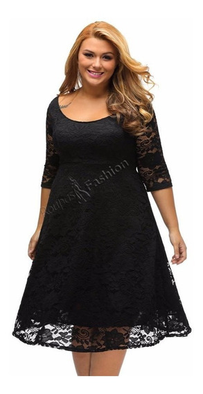 Vestido Plus Size Midi Renda Manga Curta Moda Fashion Lindo