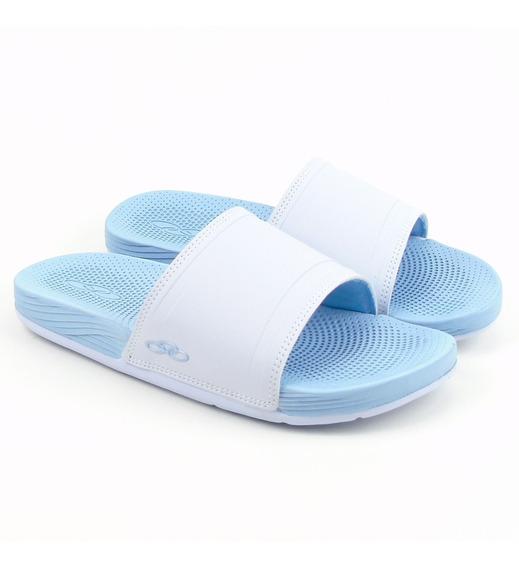 Chinelo Feminino Olympikus Next 483 Na Cor Branco Azul Claro