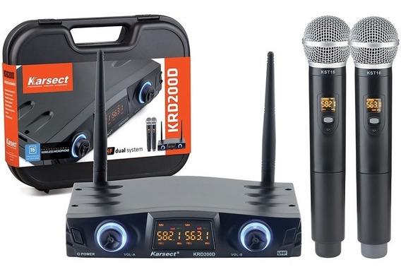 Microfone Sem Fio Profissional Duplo Mão Uhf Krd200 Dm