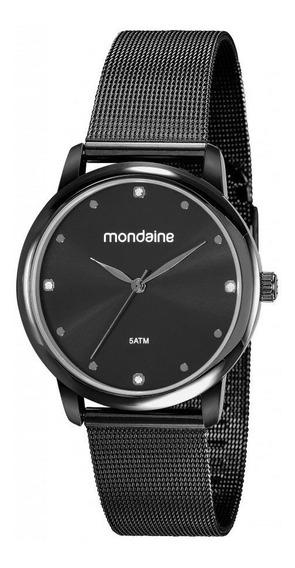 Relógio Mondaine Feminino Preto Esteira 53820lpmvpe3