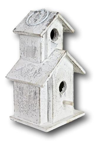 Casa Para Pássaros Madeira Rústica 31x20x17cm 2 Andares