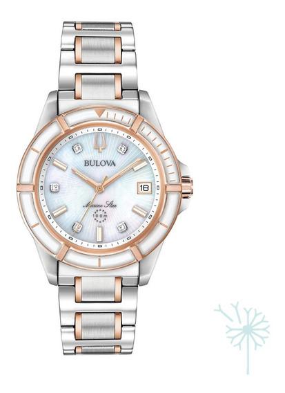 98p187 Reloj Bulova Marine Star Diamante Dama Plat/rosado