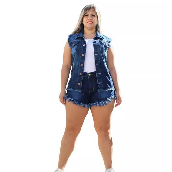 Conjunto Short E Colete Feminino Jeans Lycra Plus Size 36-54