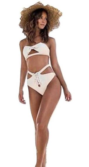 Traje De Baño Blanco Straple Cintura Alta Bikini Mexico