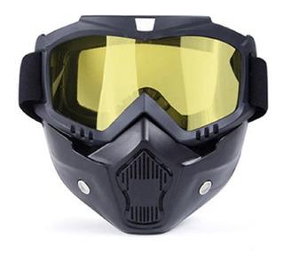 Óculos Mascara Piloto Moto Lente Visor Amarela Visão Noturna