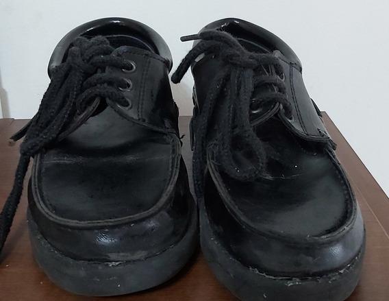 Zapatos Nauticos Colegiales Varon Talle 33 Color Negro