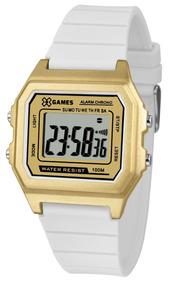 Relógio X-games Feminino Digital Xlppd032 Dourado Branco