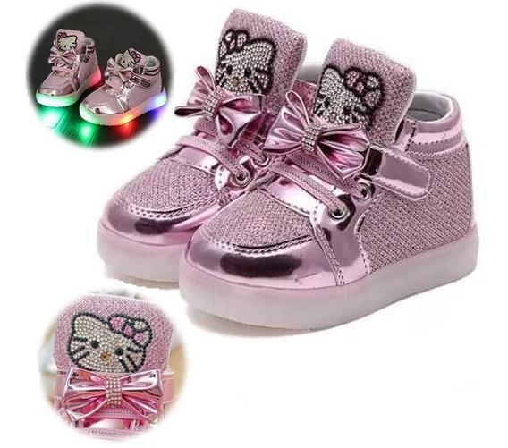 Tênis Infantil Menina Hello Kitty Rosa Led Importado