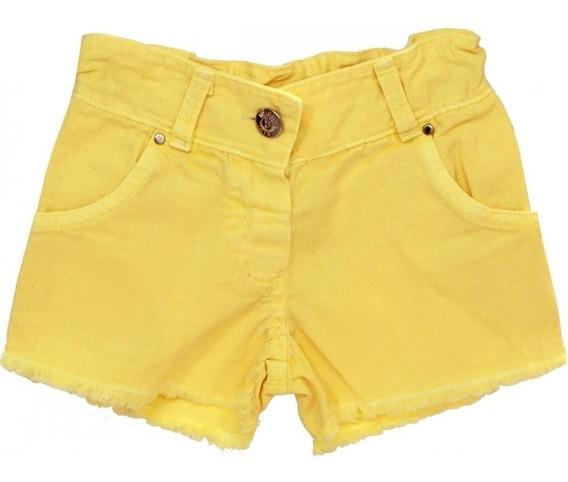 Kit 4 Shorts Curto Colorido Feminino Promoção Botão Sarja