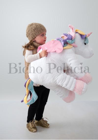 Unicórnio Fofinho Pelúcia Almofada Travesseiro Branco 67cm