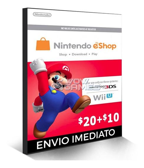 Cartão Nintendo 3ds Wii U Switch Eshop Ecash $30 Dolares Usa