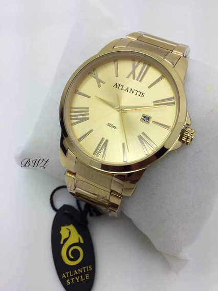 Relógio Luxo Atlantis Dourado Original Elite