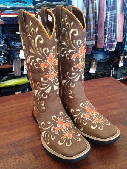 Bota Texana Feminina Vimar Flor Laranja