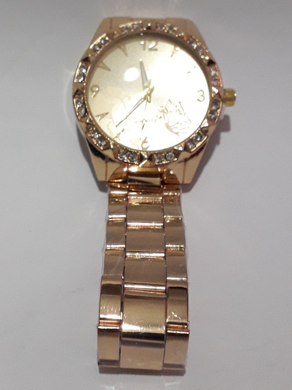Relógio Pulso Feminino Dourado Strass Quartz